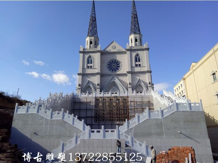 承德教堂草白玉石雕栏板