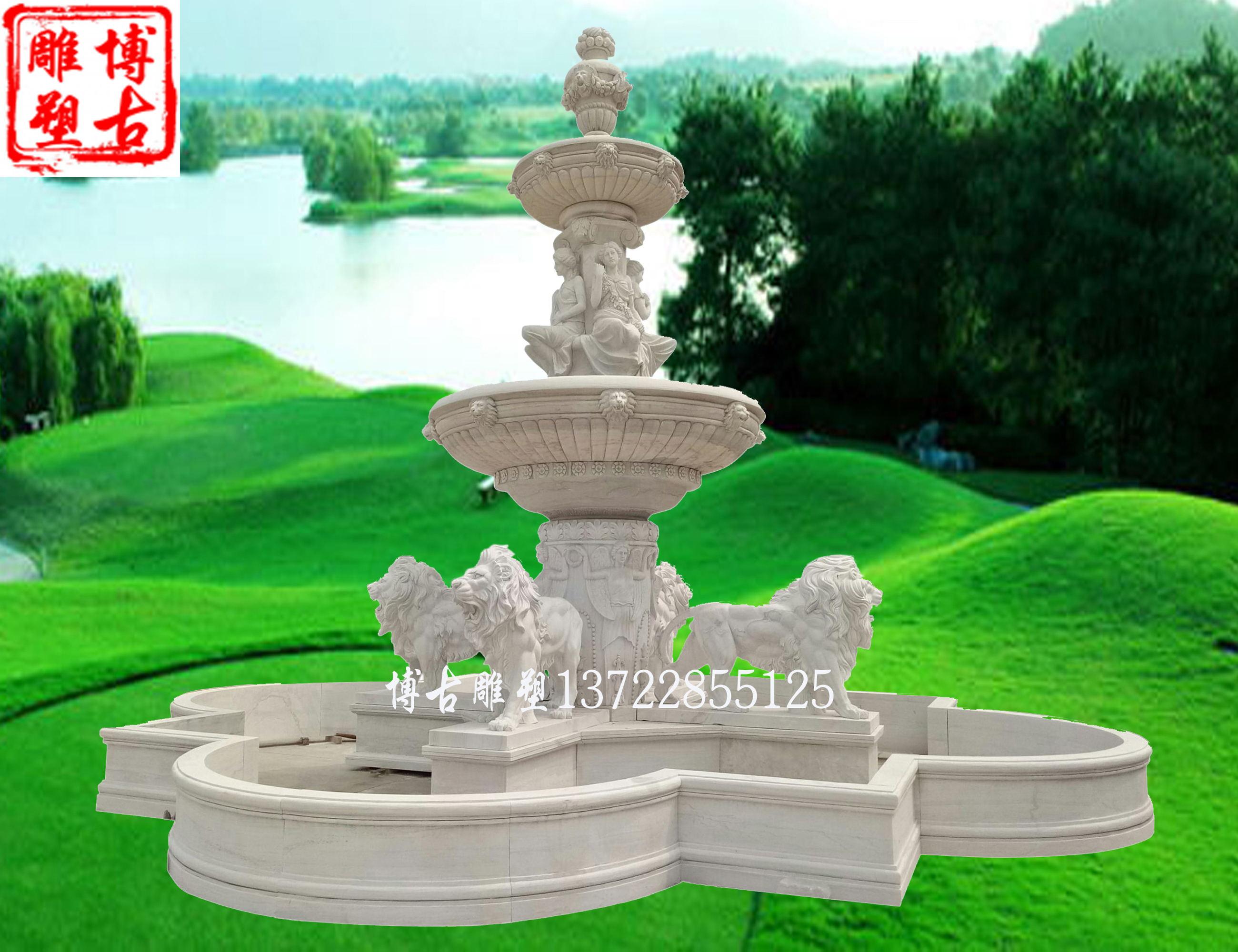 石雕喷泉 汉白玉石雕喷泉 欧式狮子喷泉