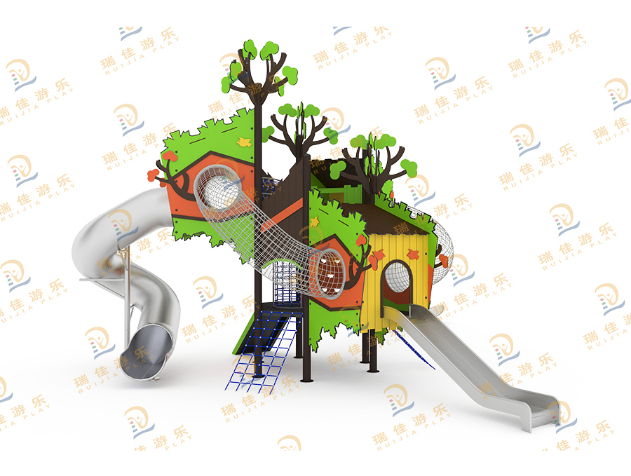 造型树屋城堡不锈钢滑梯
